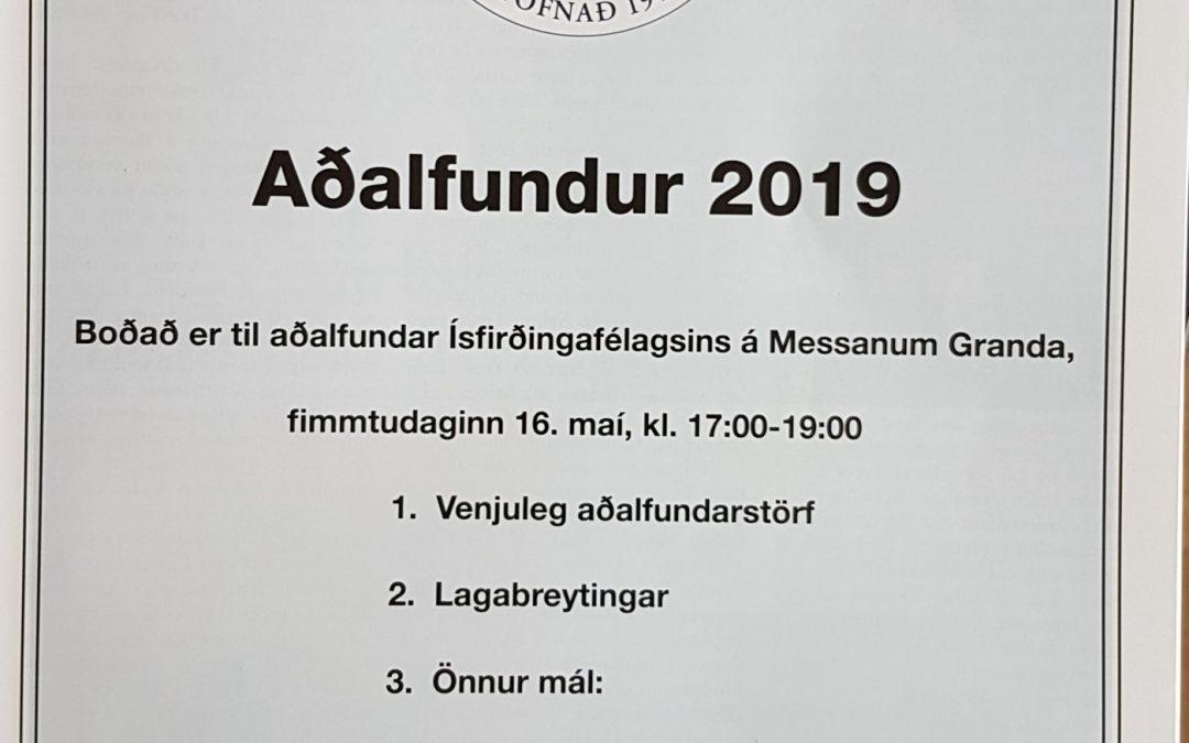 Aðalfundur Ísfirðingafélagsins 2019